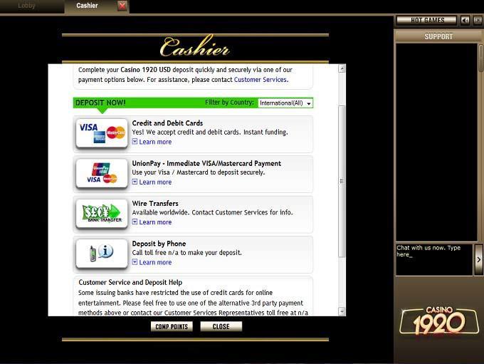 Alternative casino banking methods casino race track yonkers