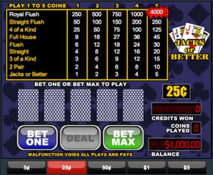 Free Jacks Or Better Video Poker Games